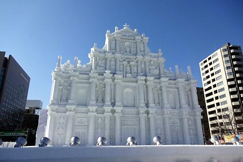 マカオ、セントポール天主堂跡雪像